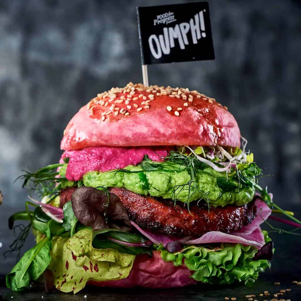 The Oumph Burger lifestyle shot