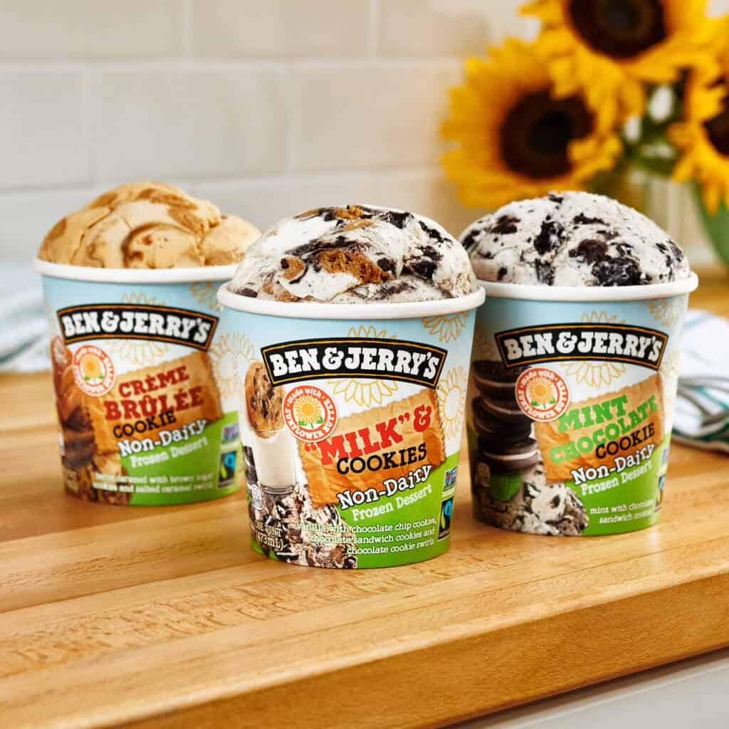3 flavors sunflower seed vegan ice cream Ben & Jerry's
