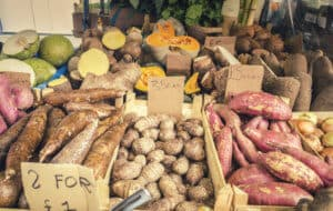 Fresh African Vegetables on Market Stall in London