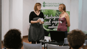 Diana von Webel (Albert Schweitzer Foundation) and Anja Bonzheim (Association for the Promotion of Biocyclic Vegan Agriculture)