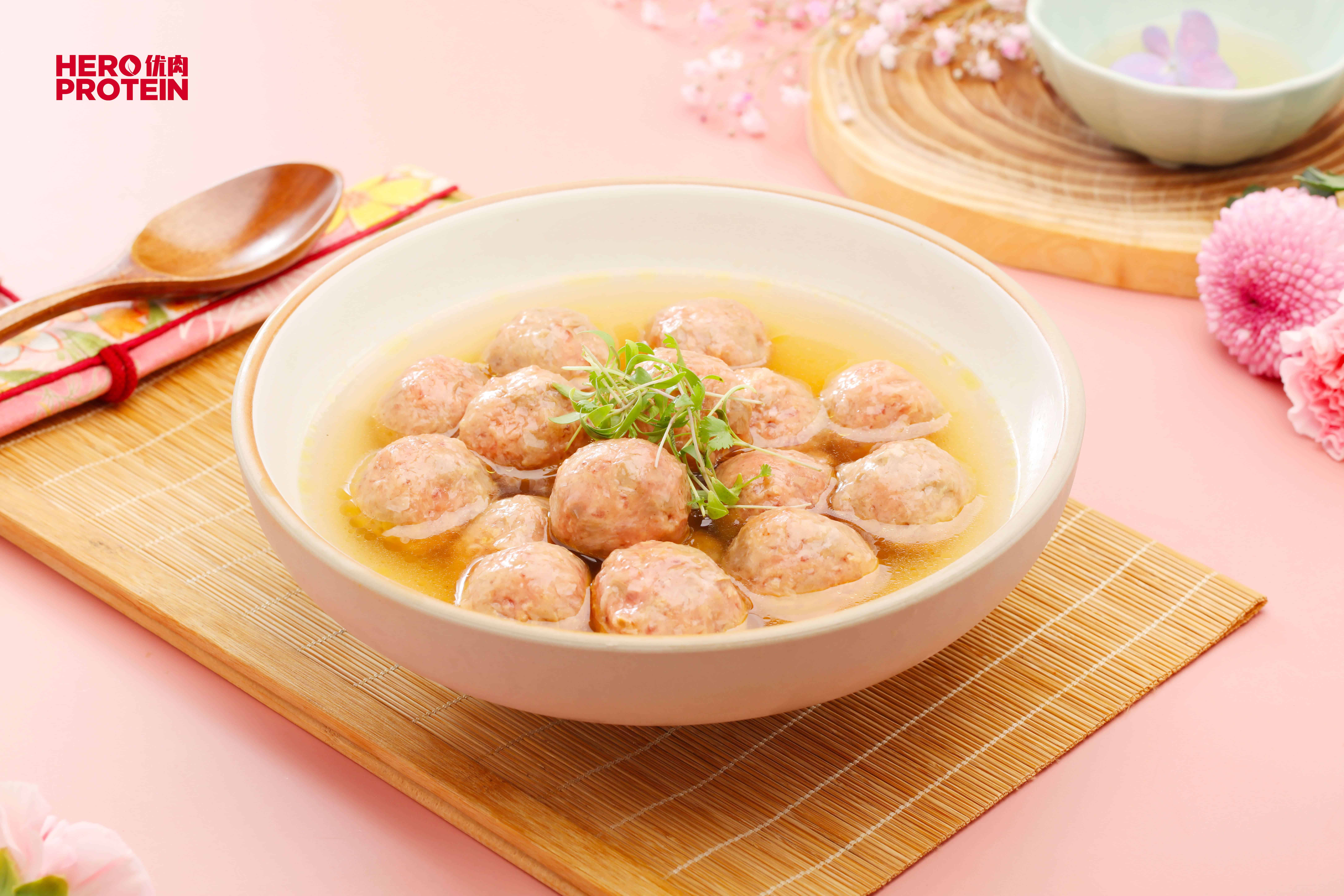 Hero Protein-beef meatball soup
