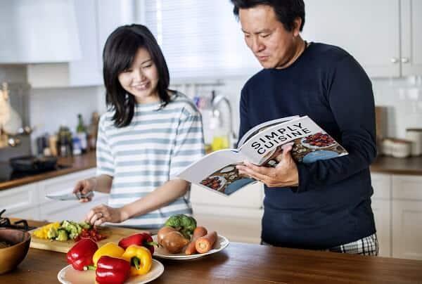 Asian couple Japanese vegans