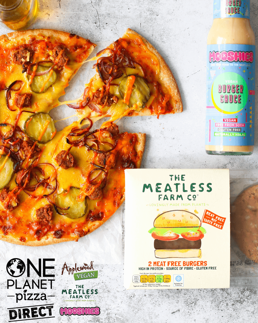 Meatless Farm Cheezeburger Pizza