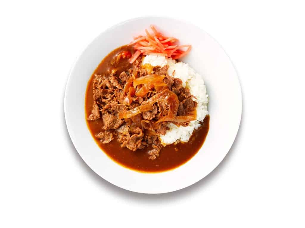 IKEA's plant based curry with Next Meats' signature NEXT Gyudon on top.