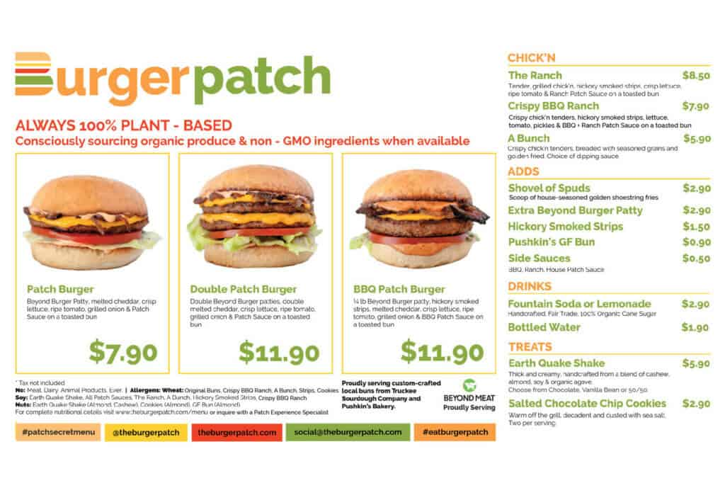Burger Patch menu