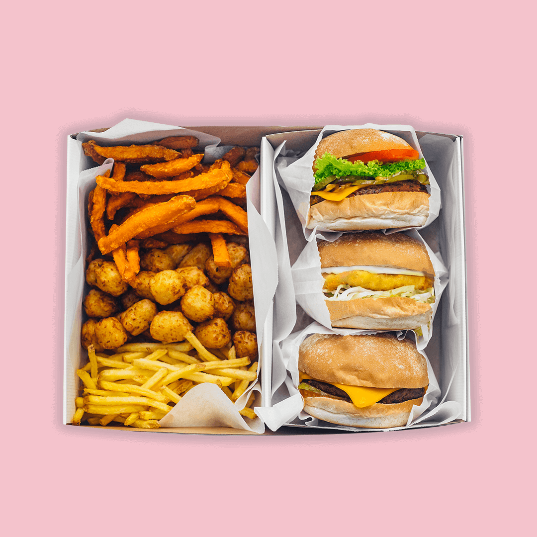 'The Neat', 'The Cheese' and 'The Chick'n' & skinny fries, sweet potato fries and tater tots