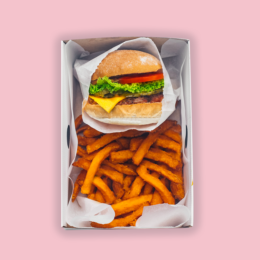 Neat Burger with sweet potato fries