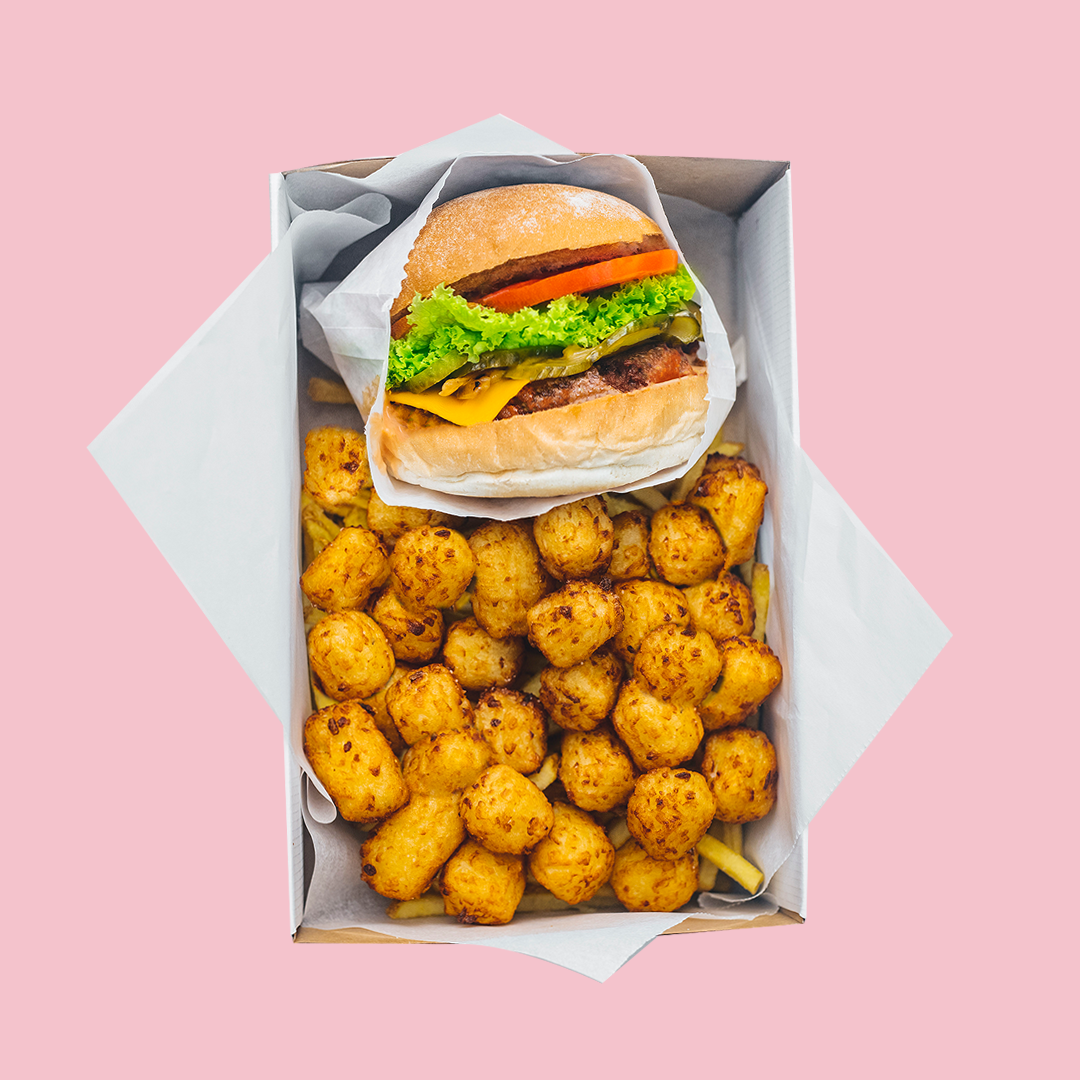 Neat Burger with tater tots