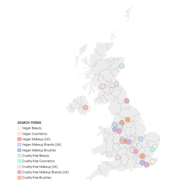 vegan makeup and cruelty free makeup map by city